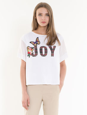 Printed silk and jersey T-shirt