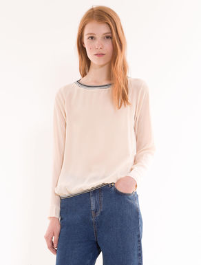 Silk and jersey blouse