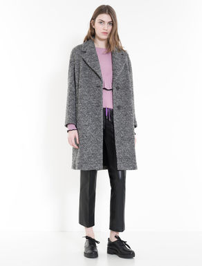 Boiled jacquard wool coat