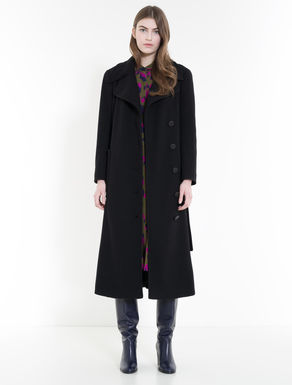 Double-weave fabric midi coat