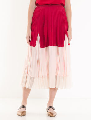 Pleated colour-block skirt