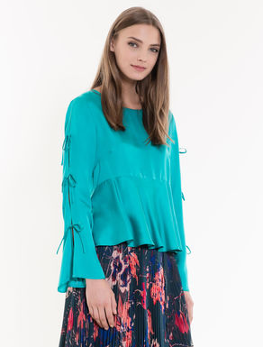 Satin blouse with flounce and bows