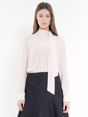 Pleated silk blouse