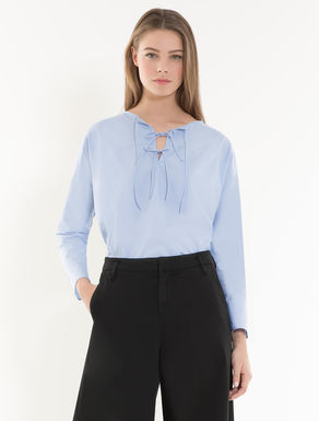 Blouse in poplin and crêpe fabric