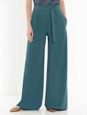 Pantalón wide de tejido crepé