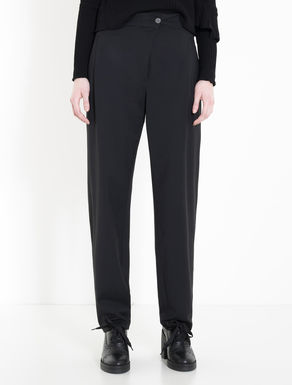 Gabardine carrot-fit trousers