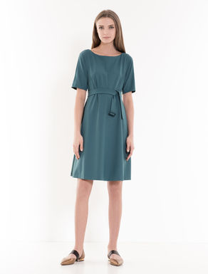 A-line dress in crêpe fabric