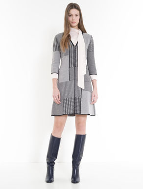 Jacquard-knit patchwork dress