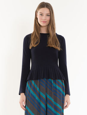 Cashmere jumper with flounce