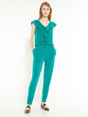 Jersey and silk jumpsuit with flounce