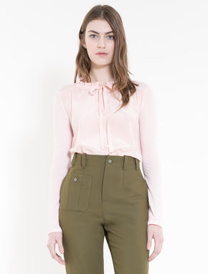Silk and jersey blouse with bow