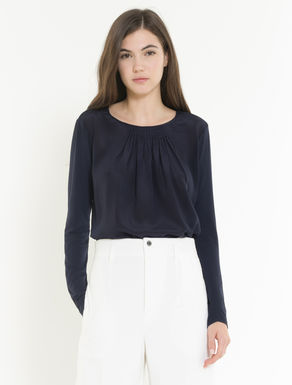 Silk and jersey blouse with pleating