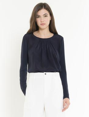 Blusa in jersey e seta con plissé