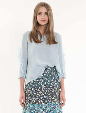 Silk and jersey ruched blouse