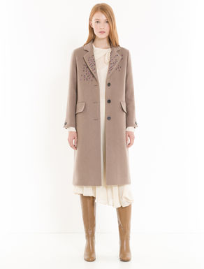 Broadcloth coat with jewel accents