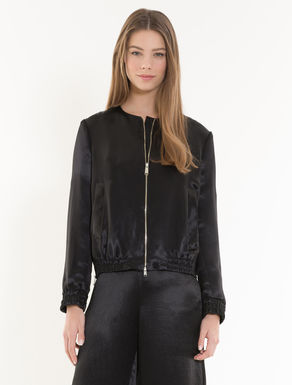 Satin bomber jacket with ruching