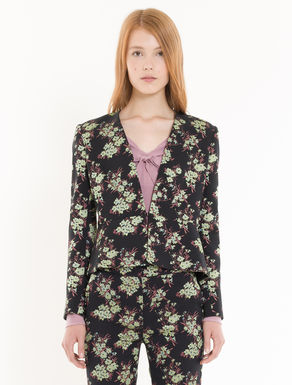 Slim-cut floral jacquard jacket
