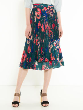 Floral twill skirt with pleating