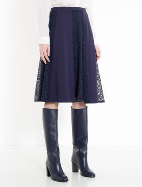 Envers satin and lace skirt