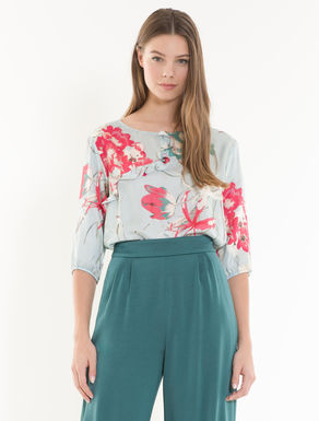 Floral satin blouse with ruching