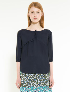 Fluid voile blouse with ruching