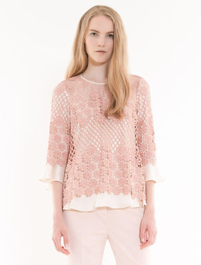 Macramé and twill blouse