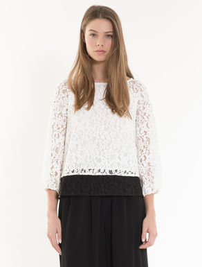 Colour-block lace blouse