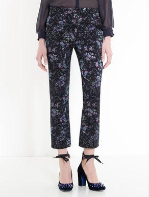 Pantaloni slim jacquard floreale