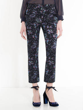 Slim-cut floral trousers