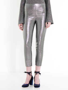 Slim lamé cady trousers