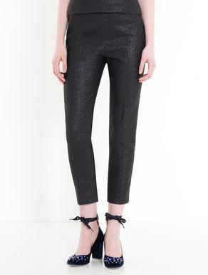 Slim lamé cady trousers