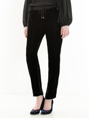 Jogging trousers in fluid velvet