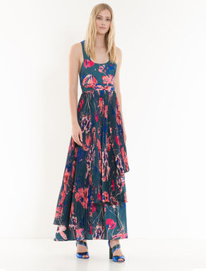Floral twill dress with pleating
