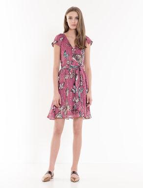 Silk lamé corolla dress