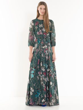 Long silk lamé dress