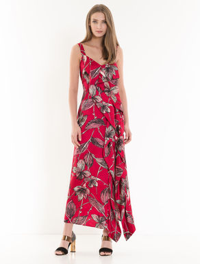 Long twill dress with flounces