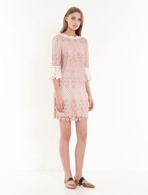 Macramé and twill dress