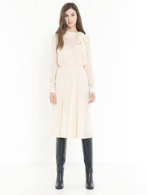 Lamé crêpe dress with bow