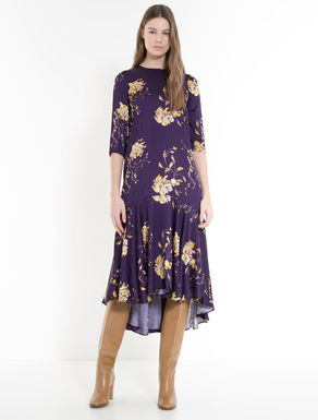 A-line dress in floral satin