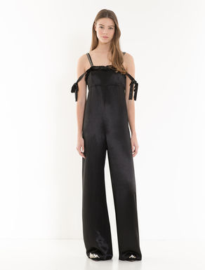 Satin jumpsuit with jewel embroidery