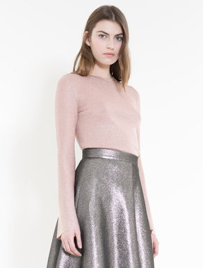 Lamé sweater with flared cuffs