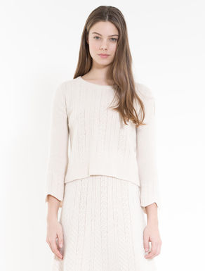 Boiled wool sweater with plaiting