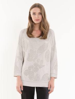 Floral jacquard lamé jumper