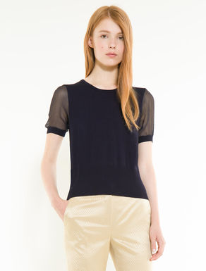 Jumper with silk sleeves