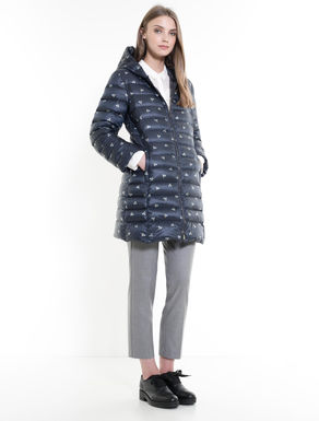 Slim-fit down coat with hood