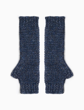 Laminated knit fingerless gloves