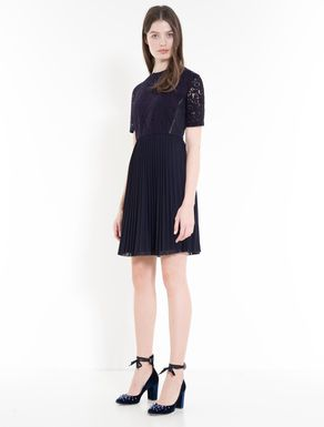 Pleated jersey and lace dress