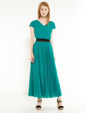Long jersey dress with pleating