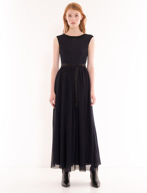 Long jersey tulle dress