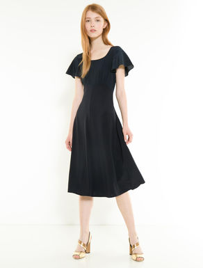 Jersey and silk midi dress